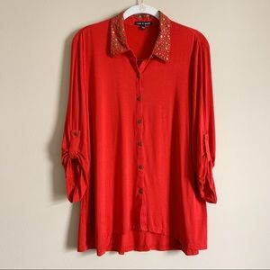 CABLE & GAUGE / red embellished button down / XL